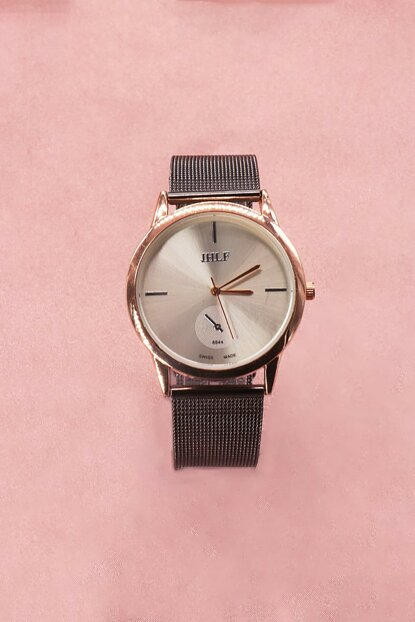 Gold Color Case Anthracite Color Wicker Watch Women's Watch 8699000096360