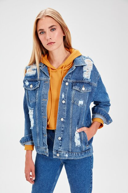 Blue Denim Detailed Jacket TWOAW20CE0040