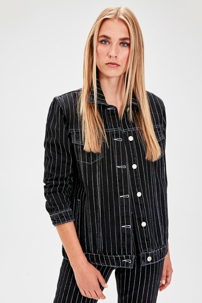 Black Striped Denim Jacket TWOAW20CE0083