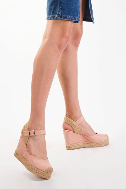 Powder Suede Women's Wedge Heeled Shoes 12905