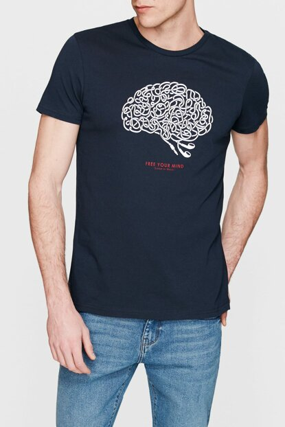 Men's Mind Printed Navy Blue T-Shirt 065305-28417