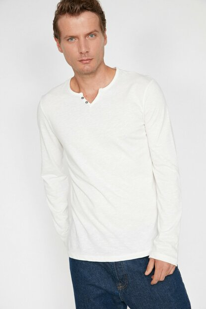 Men's Ecru Button Detailed T-Shirt 0KAM14751OK