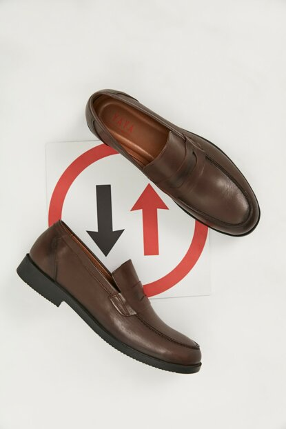 Genuine Leather Brown Men Loafer Shoes 02AYY162810A480