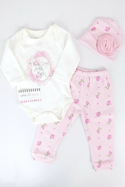 Light Pink Rose Baby Girl 3-Piece Bodysuit AF053
