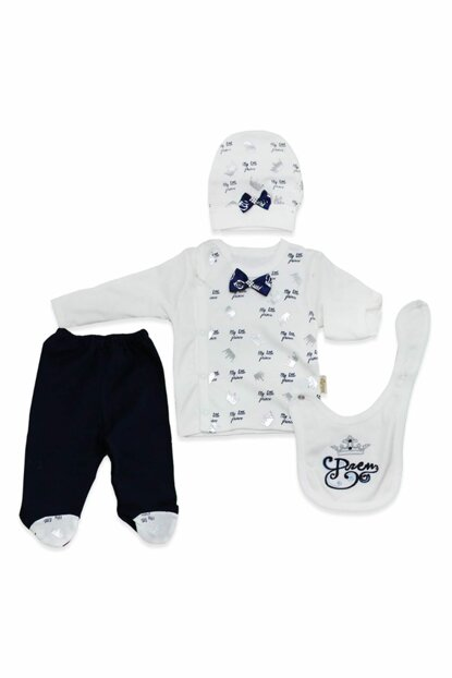 Newborn Baby Set with Hat Gloves K2457 Navy Blue Bow Tie 2457BM