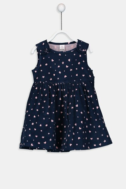 Baby Girl Navy Blue Printed Lsj Dress 9W2047Z1