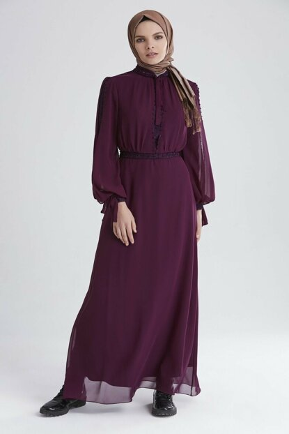 Women's Purple Belted Evening Dress 12514