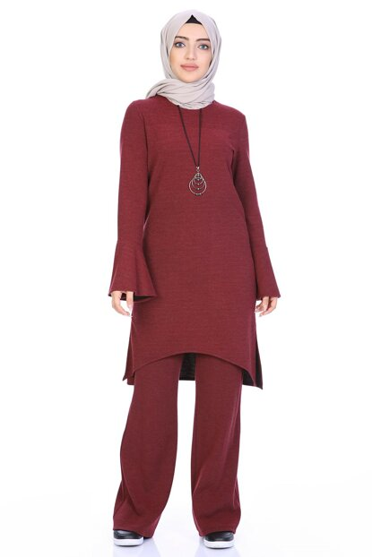 Women's Burgundy Tunic Suit with Necklace 4038/100