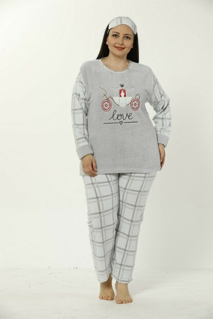 Women's Gray Wellsoft Large Size Pajamas Set 8042