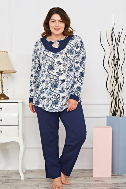 Women's Navy Blue Battal Size Pajamas Suit Pf7037 MPF7037