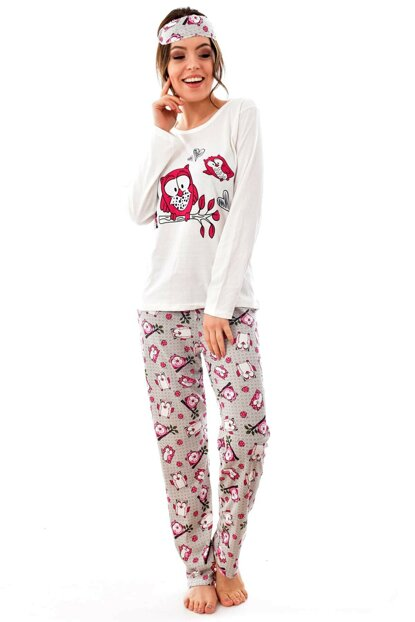 Women's Gray Long Sleeve Patterned Eye Banded Pajama Set 4188