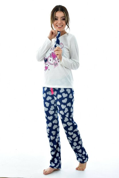 Women's Navy Blue Long Sleeve Patterned Eye Banded Pajama Set 4195
