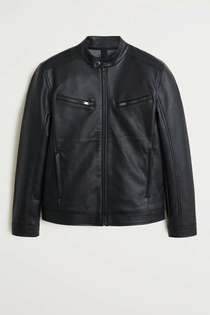 Men's Black Faux Leather Biker Jacket 53005501