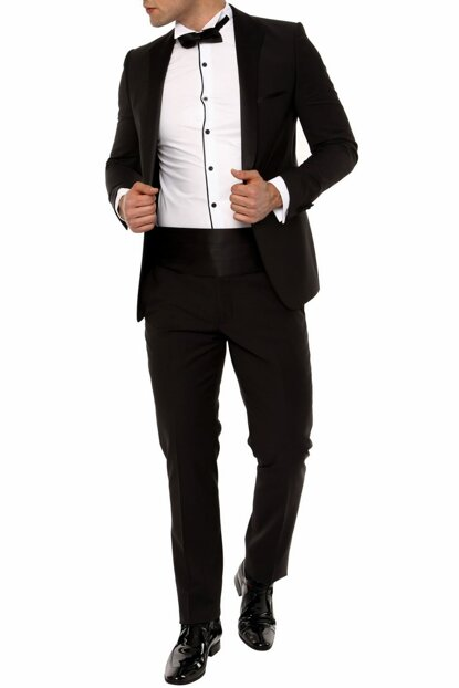 035 SET Slim Fit Black Black Suit 16YTBLK035