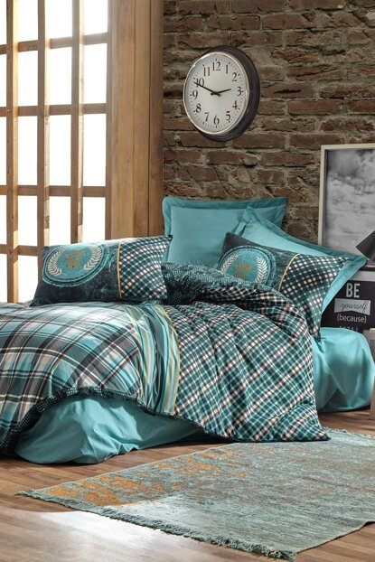 Masculine Single Size Duvet Cover Set - Enrico Petrol 1181841047051