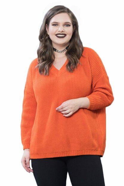 Women's Orange V Neck Sweater T13347