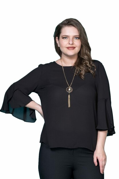 Women Black Sleeve Frilly Crepe Blouse P406