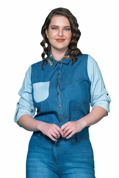 Women's Blue Collar Embroidered Denim Shirt P9654