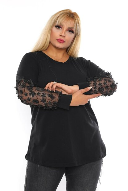 Women's Black Floral Lace Sleeve Viscose Blouse VB0014