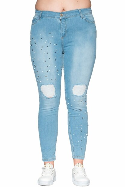 Women Blue Pearl Detailed Jeans PT11334