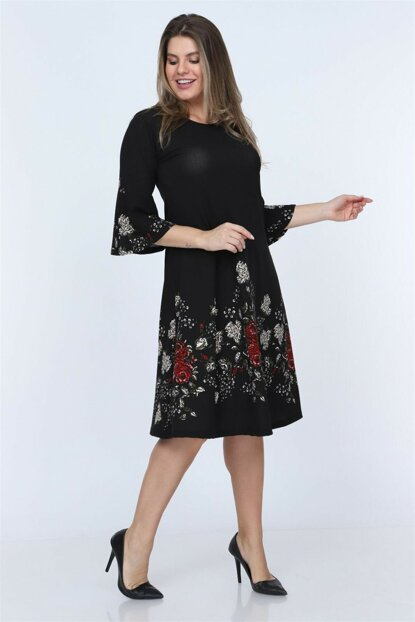 Women Black Floral Pattern Flywheel Sleeve Short Dress NB00024