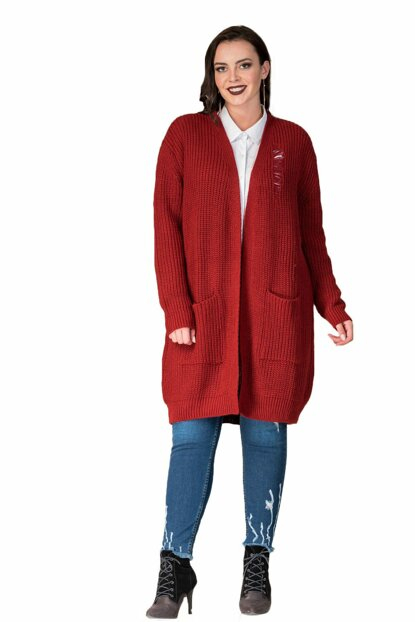 Women's Burgundy Ripped Detailed Knitted Sweater Cardigan T13356