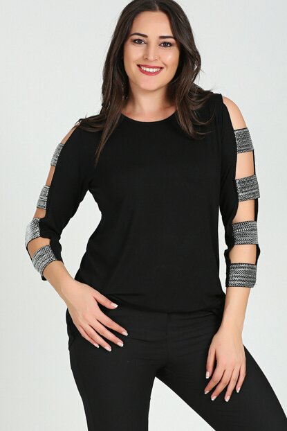 Women's Black Sleeve Silver Banded Blouse M9266