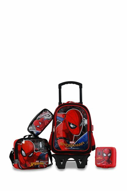 Black Unisex School Bag spiderman with wheel4luset95540
