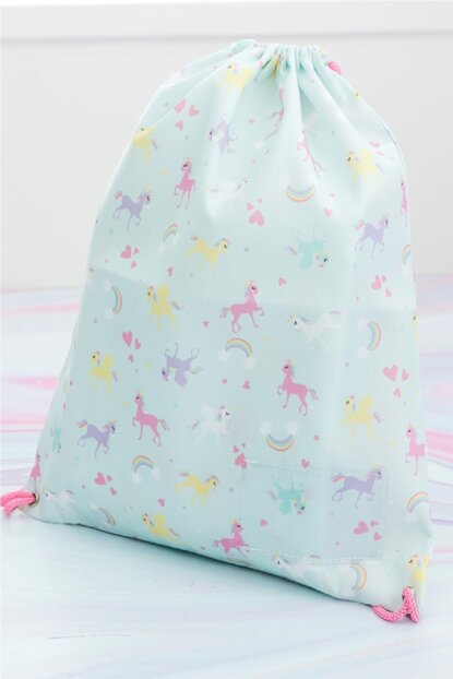 Unicorn Polyester Bag 39x34 Cm Mint - Lilac - Pink 10017855