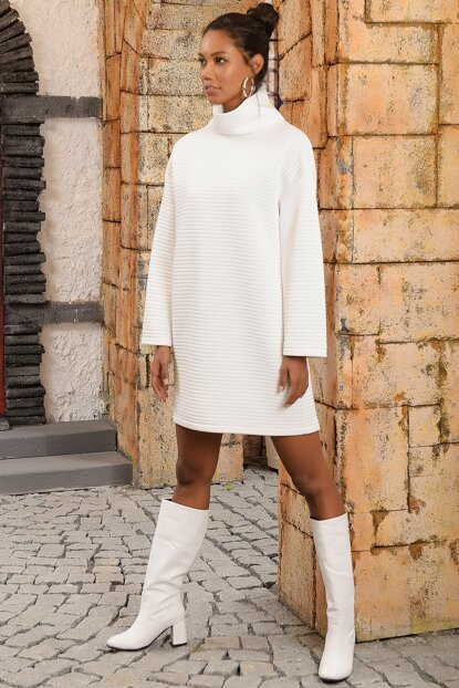Women's White Sheer Neck Turtleneck Oversize Dress ALC-Y2942