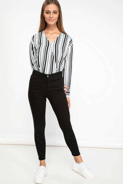 Women's Double Breasted Collar Striped Blouse J5886AZ.18AU.BE366