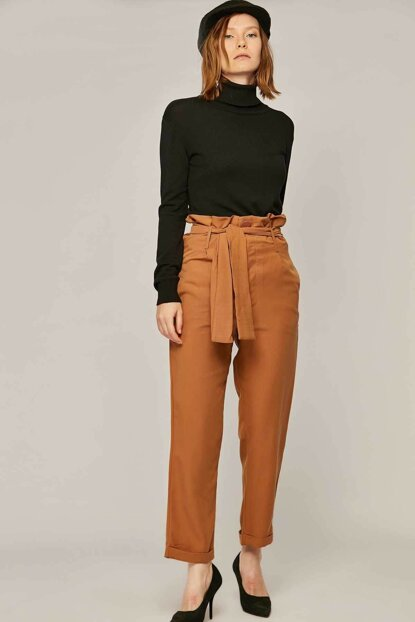Women's Camel Double Breasted Trousers 39521 Y19W109-39521