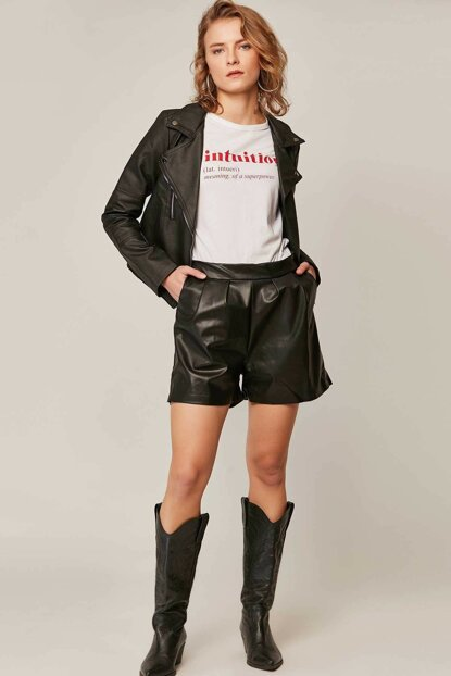 Women's Black Waist Elastic Leather Shorts 23155 Y19W108-23155