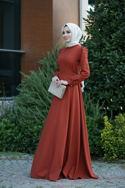 Double Breasted Hijab Dress LVNZ5247