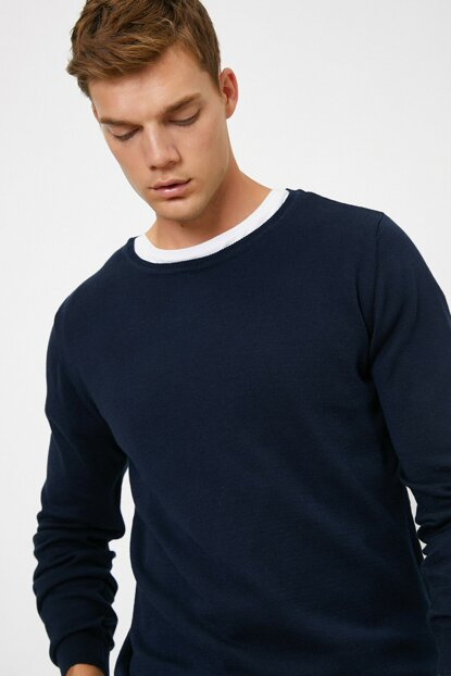 Men's Navy Blue Crew Neck Pullover 0KAM92011LT
