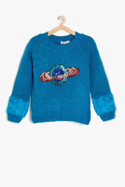 Green Girl Kid Sequins Detail Sweater 9KKG97995HT