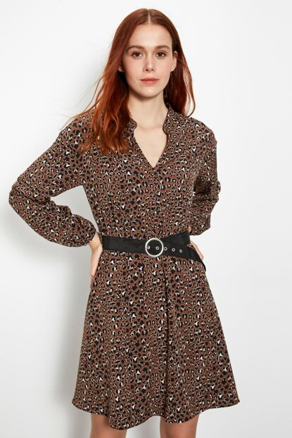 Women's Brown Print Dress 9WT171Z8