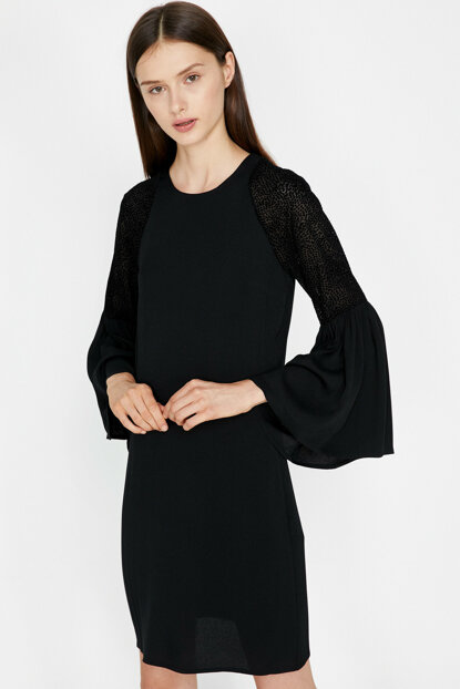 Women's Black Sleeve Detailed Dress 9KAK88851PW