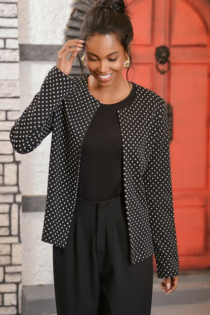 Women's Black Polka Dot Patterned Tweet Jacket ALC-019-043-X