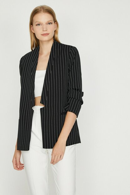 Women's Navy Blue Striped Jacket 0KAK52137RW