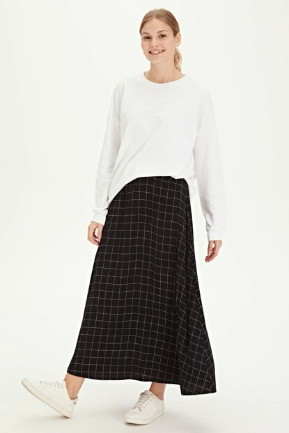Women's Black Plaid Skirt 9WO275Z8