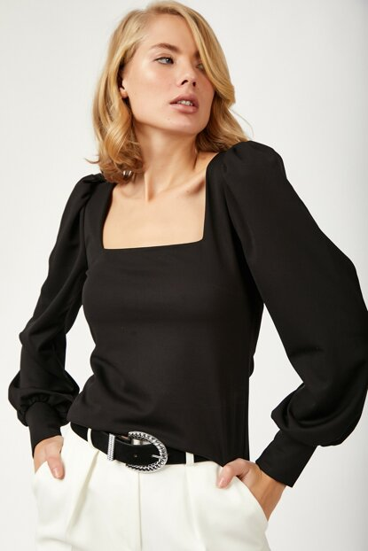 Women's Black Balloon Sleeve Lycra Crep Blouse BL00088
