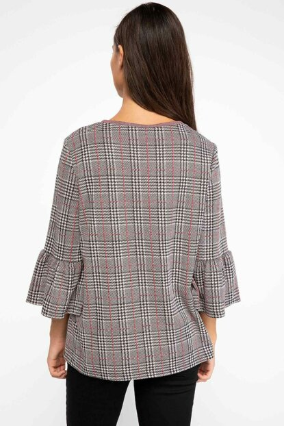 Women's Red Sleeve Flywheel Detailed Plaid Blouse J2524AZ.18AU.RD62