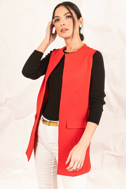 Women Red Waistcoat with Pocket ARM-17Y00041