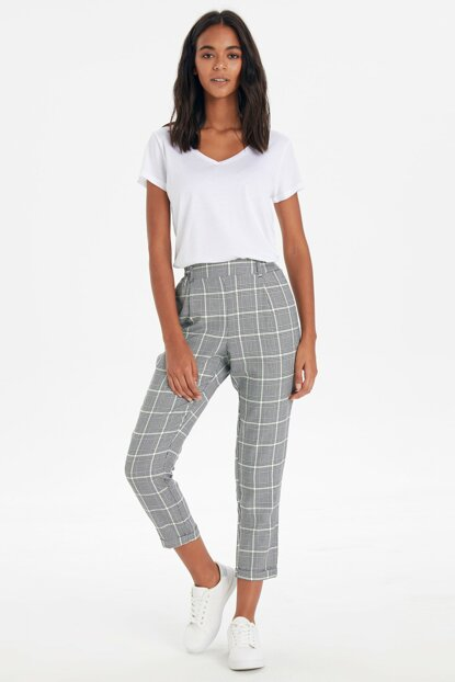 Women's Green Plaid Pants 9WI997Z8