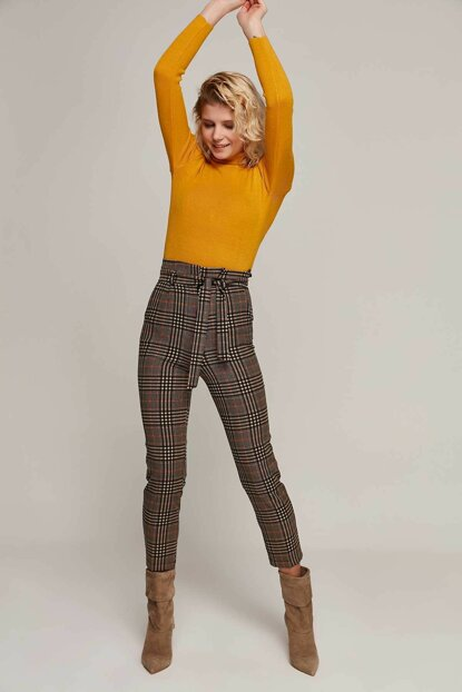 Women Mustard Checked Trousers 6457 Y19W110-6457