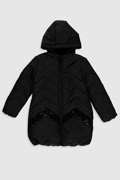 Girls' New Black Cvl Coat 9W6272Z4