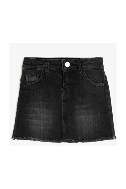 Black Kids Pocket Detail Jean Skirt 0KKG77215AD