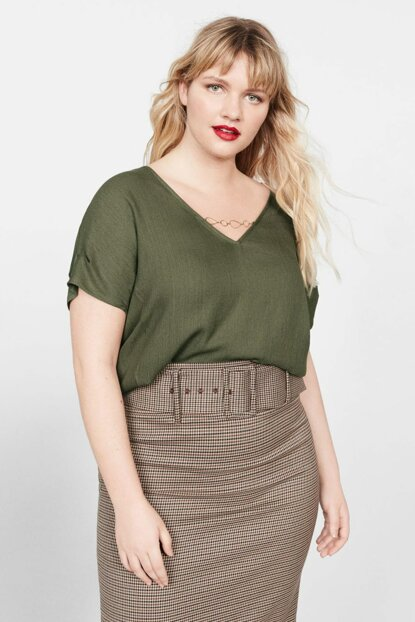 Women's Khaki Color Collar Removable T-Shirt 51030655
