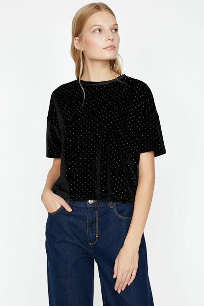 Women's Black Polka Dot T-Shirt 9KAK13797EK